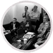 Obama In White House Situation Room Round Beach Towel by War Is Hell Store