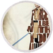 Obi-wan Kenobi - Ewan Mcgregor Round Beach Towel by Ayse Deniz