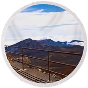 Observation Point With Volcanic Crater Round Beach Towel