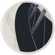 Obsession Sails 9 Black And White Round Beach Towel
