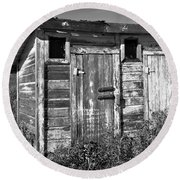 Obsolete Country School Outhouse Round Beach Towel