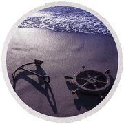 Ocean Beach Anchor Round Beach Towel