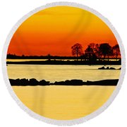 Orange Sunset Round Beach Towel by Carol F Austin