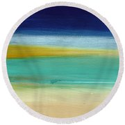 Ocean Blue 3- Art By Linda Woods Round Beach Towel
