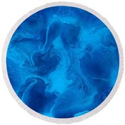Ocean Blue Abstract Painting Round Beach Towel
