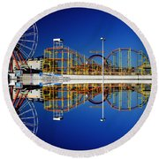 Ocean City Amusement Pier Reflections Round Beach Towel