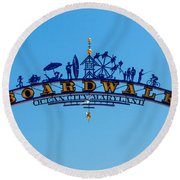 Ocean City Boardwalk Arch Round Beach Towel