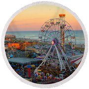 Ocean City Castaway Cove And Music Pier Round Beach Towel