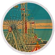 Ocean City Castaway Cove Ferris Wheel Round Beach Towel