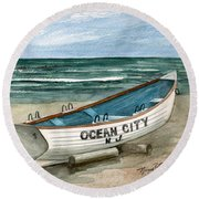 Ocean City Lifeguard Boat 2  Round Beach Towel