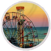 Ocean City Nj Wonder Wheel And Double Shot Round Beach Towel
