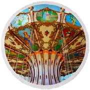 Ocean City Swing Carousel Round Beach Towel