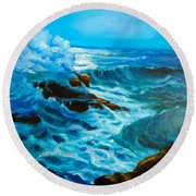 Round Beach Towel featuring the painting Ocean Deep by Jenny Lee