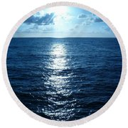 Round Beach Towel featuring the painting Ocean Fall by Fei A