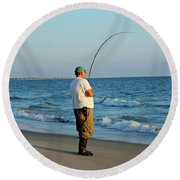 Round Beach Towel featuring the photograph Ocean Fishing by Cynthia Guinn