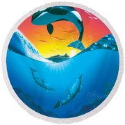 Ocean Freedom Round Beach Towel by MGL Studio - Chris Hiett
