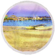 Coastal - Beach - Boats - Ocean Front Property Round Beach Towel