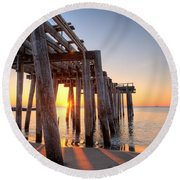 Ocean Grove Pier Sunrise Round Beach Towel by Michael Ver Sprill