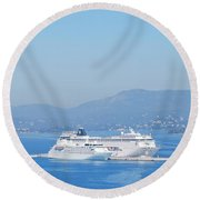 Ocean Liners In Corfu Round Beach Towel by George Katechis