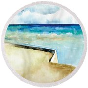 Ocean Pier In Key West Florida Round Beach Towel