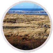 Round Beach Towel featuring the photograph Ocean Shores Boardwalk by Jeanette C Landstrom
