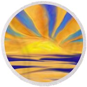 Ocean Sunrise Round Beach Towel by Anita Lewis
