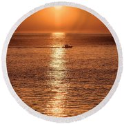 Ocean Sunrise At Montauk Point Round Beach Towel