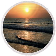 Ocean Sunrise Over Myrtle Beach Round Beach Towel