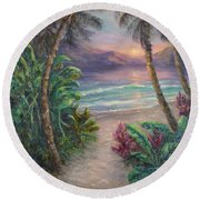 Ocean Sunrise Painting With Tropical Palm Trees  Round Beach Towel