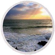 Ocean Sunset 84 Round Beach Towel