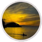 Ocean Sunset At Rosario Strait Round Beach Towel