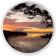 Ocean Sunset Deception Pass Round Beach Towel