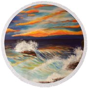 Round Beach Towel featuring the painting Ocean Sunset by Michelle Joseph-Long