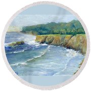 Ocean Surf Colorful Original Seascape Painting Round Beach Towel
