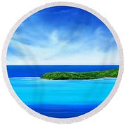 Round Beach Towel featuring the digital art Ocean Tropical Island by Anthony Fishburne