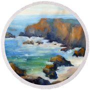Schoolhouse Beach Overlook Round Beach Towel