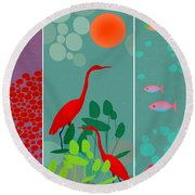 Ocean Views - Limited Edition Of 15 Round Beach Towel by Gabriela Delgado