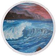 Round Beach Towel featuring the painting Ocean Wave by Jenny Lee