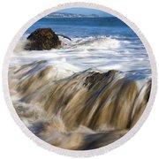 Ocean Waves Breaking Over The Rocks Photography Round Beach Towel