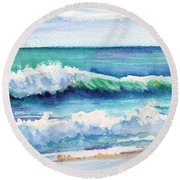 Round Beach Towel featuring the painting Ocean Waves Of Kauai I by Marionette Taboniar