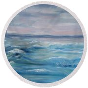 Round Beach Towel featuring the painting Oceans Of Color by Diane Pape