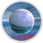 Round Beach Towel featuring the painting Oceans by Robin Moline