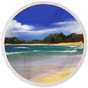 Round Beach Towel featuring the digital art Oceanside Dream by Anthony Fishburne