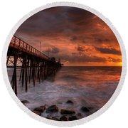 Oceanside Pier Perfect Sunset -ex-lrg Wide Screen Round Beach Towel