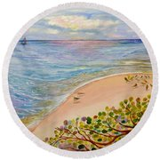Seaside Grapes Round Beach Towel