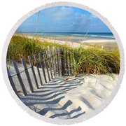 Round Beach Towel featuring the photograph October Beach by Dianne Cowen