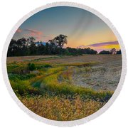 October Evening On The Farm Round Beach Towel