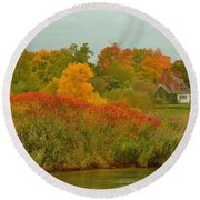 October Light Round Beach Towel