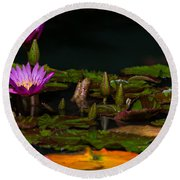 October Lilies 2 Round Beach Towel