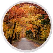October Road Round Beach Towel